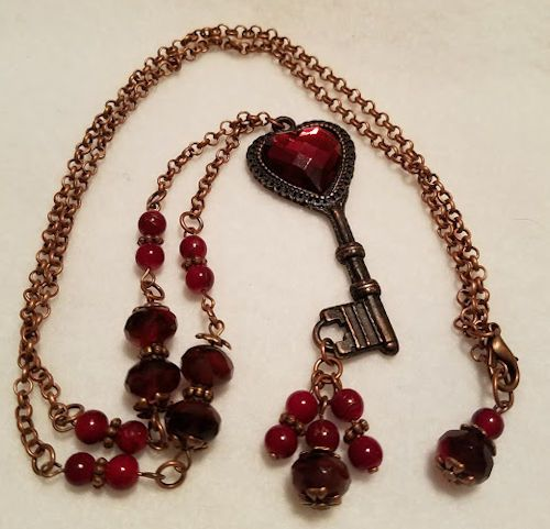 Rusted Iron Pewter Key from B'Sue by 1928 with vintage heart cabochon and Czech Glass,