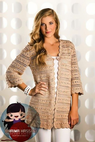 Double-crochet clusters alternate with filet -crochet rows to create the lacy striped  pattern in this city-chic cardigan. An...