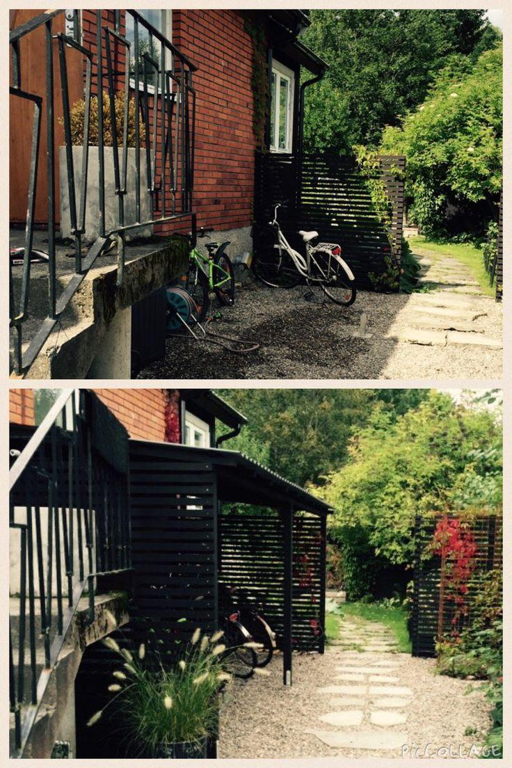 Före och efter cykelskjul. Enkel och mycket praktisk lösning.