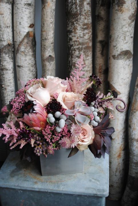 plum, blush and silver. Cute for fall deco or even wedding colors