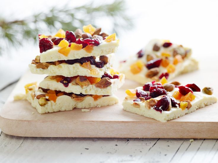 White Chocolate Bark with Pistachios, Dried Cranberries & Apricots - Recipe from Ina Garten