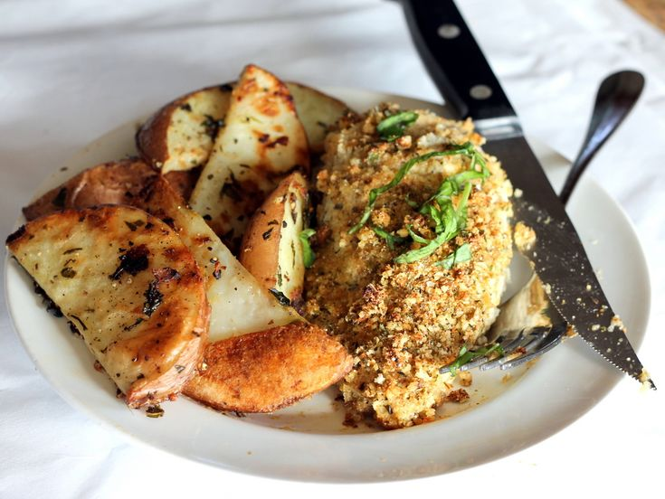 Crispy Garlic Parmesan Oven-Fried Chicken & Oven Roasted Red Potatoes