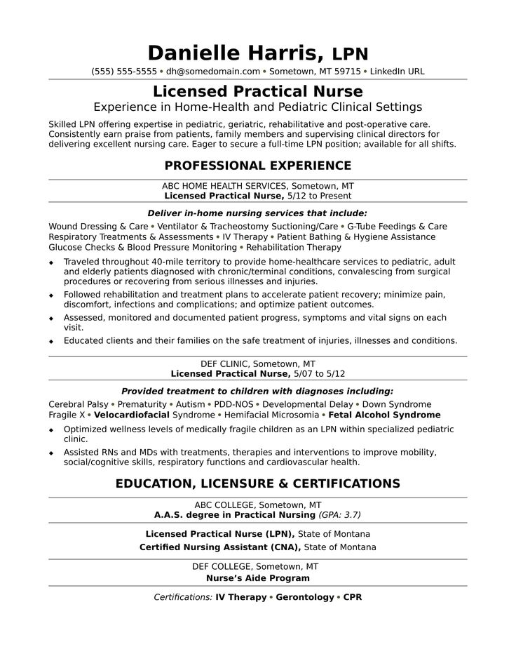 If your resume's vitals are weak, examine this sample resume for a licensed practical nurse to get ideas on how you can revitalize your document.
