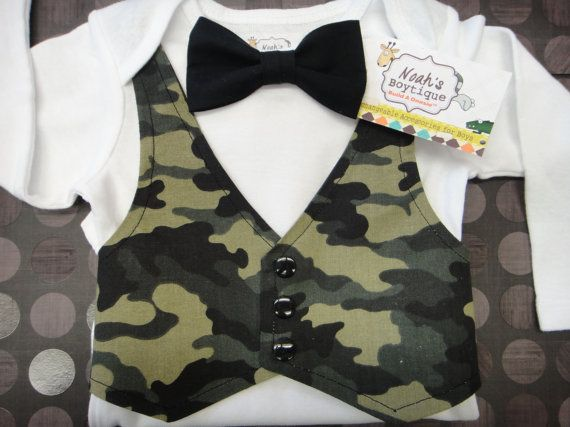 Hey, I found this really awesome Etsy listing at http://www.etsy.com/listing/121097850/baby-boy-camouflage-vest-and-bow-tie