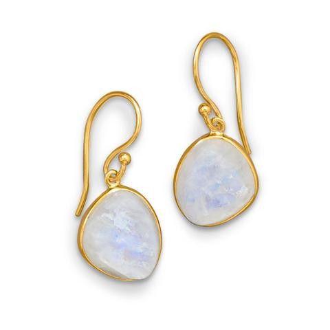 14 Karat Gold Plated Earring W/Rainbow Moonstone
