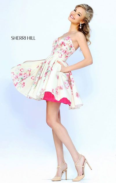 Sweetheart Neck Pink Floral Printed Short Bodice Homecoming Dresses Strapless 2015