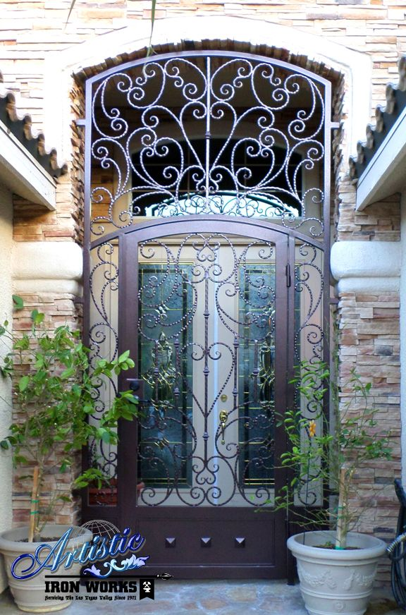 Papillion Scrolled Wrought Iron Entryway With Kickplate
