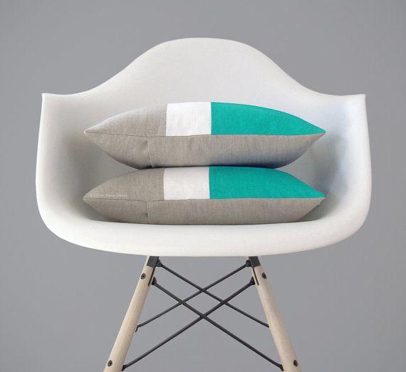 Caraibi Colorblock cuscino coprire - colore moderno blocco cuscini di JillianReneDecor - Spring Home Decor - metà secolo - turchese