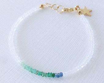 Gemstone bracelet, Rainbow moon stone, Emerald and Sapphire with a lucky star charm, thin bracelet, perfect for layering, perfect for gift