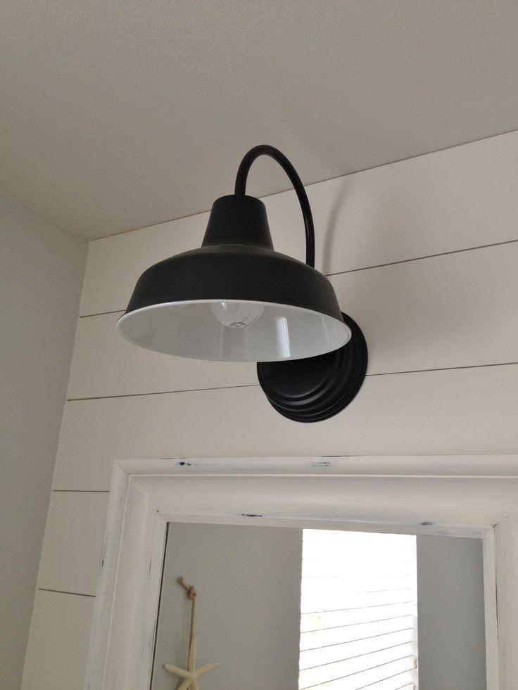 Barn Wall Sconce Lends Farmhouse Look to Powder Room Remake | Blog | BarnLightElectric.com