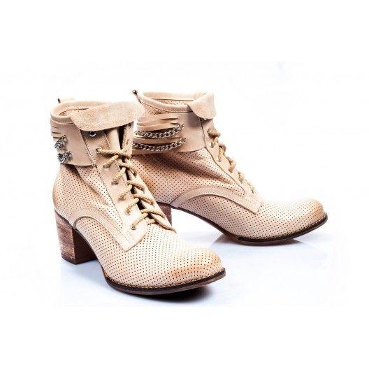 Dámske kožené topánky béžovej farby - fashionday.eu