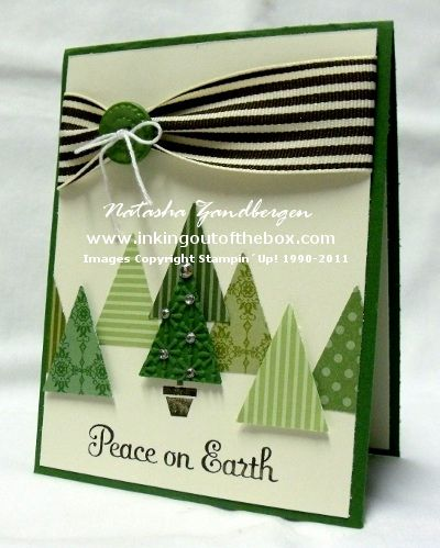 Christmas card ... a forest of triangle trees cut out of designer papers from Stampin' Up! using the pennant dies ... great use of dimensionals to give depth to the scene ... lovely card ...