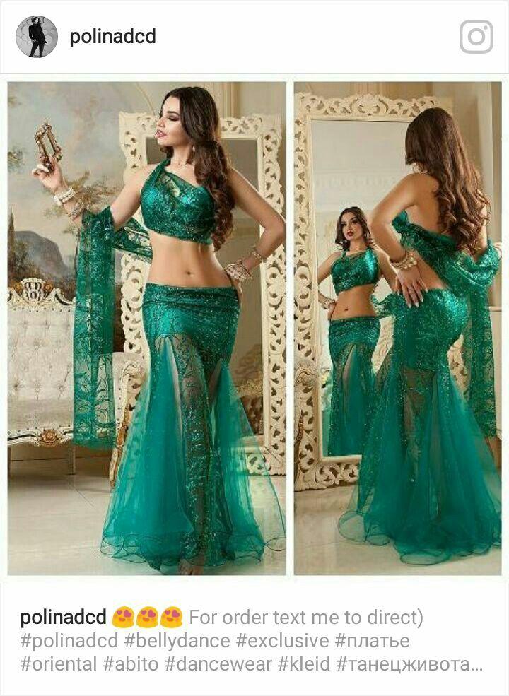 Danza arabe, traje verde en dos piezas