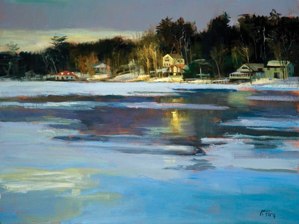 From landscape artist Peter Fiore: January Ice 2006, oil on linen, 18 x 24. Private collection