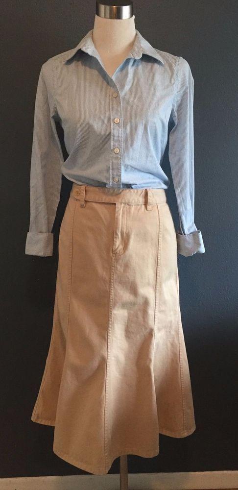 Womens Ralph Lauren Cotton Twill A Line Trumpet Skirt KHAKI Size 8 EUC #RalphLauren #ALine