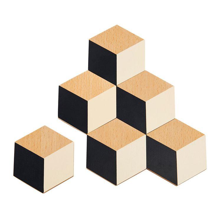 areaware tiles glassbrikker sort 6pk