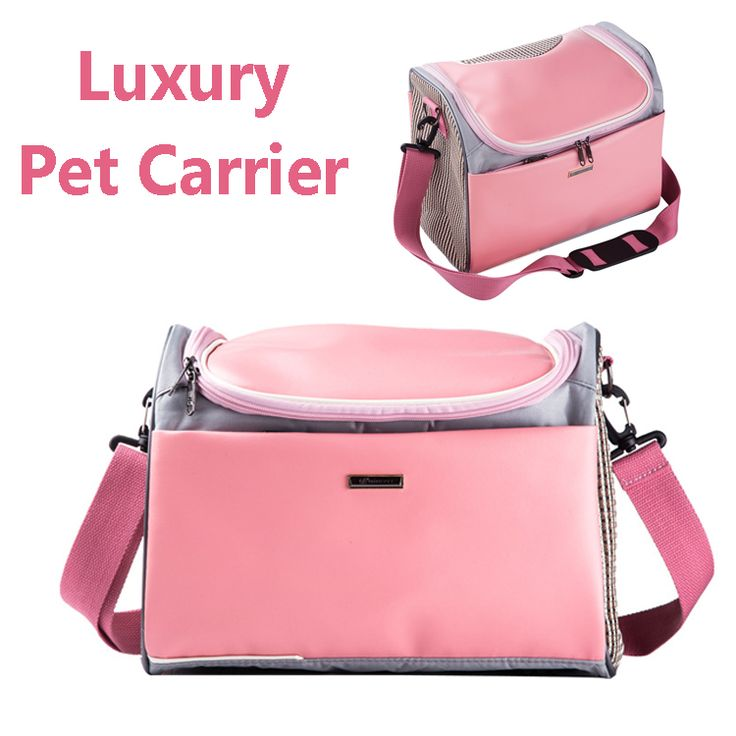 Pink pu leather Pet cat small dog Travel luxury Carrier bag outdoor Portable dog carry tote bag pet transport air carrier box