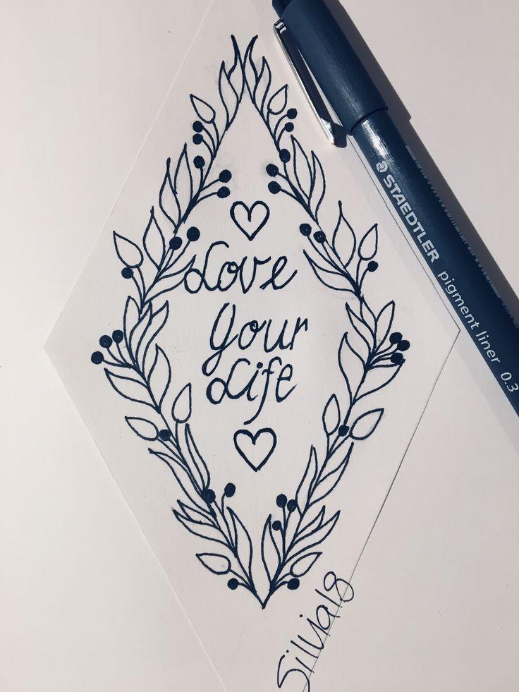 Love your Life/ Geometric/ Blumenkranz/ Drachenform/ Tattoo idea