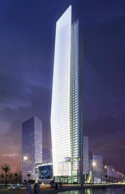 glass facade design office building. commissioned by dubai properties to design a 51 story office building in the business bay district tower features canted and bent glass facade r