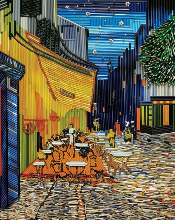 Terrace time! Enjoy the beautiful weather!    To promote a new series of pencils, the advertising agency Ogilvy & Mather Singapore recreated re-known masterpieces, including Vincent Van Gogh's 'Terrasse de café le Soir' using thousands of crayons.