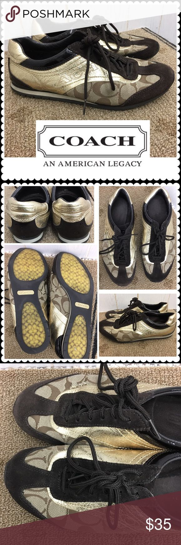 Brown/Gold COACH Tennis Shoes Sz 6 Brown signature COACH tennis shoes with Gold Trim. Lace up. Sz 6 Gently worn, in great shape! Coach Shoes Sneakers