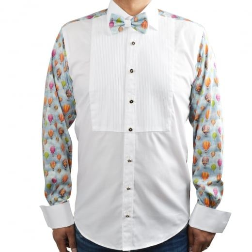 Claudio Lugli Balloon Print Patterned Back Mens Dress Shirt with Bow Tie