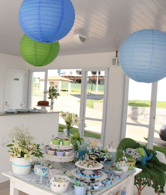 Baby Shower Decor Green ~ Elephants blue and green baby shower party ideas