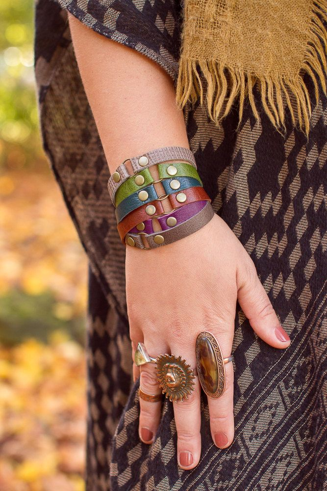 Leather Thin Bracelet Stack in Grey Green Burnt Orange Turquoise Purple w Chain Closure One Size Fits All 28 Colors to Choose From by permanentbaggage on Etsy https://www.etsy.com/listing/210261373/leather-thin-bracelet-stack-in-grey