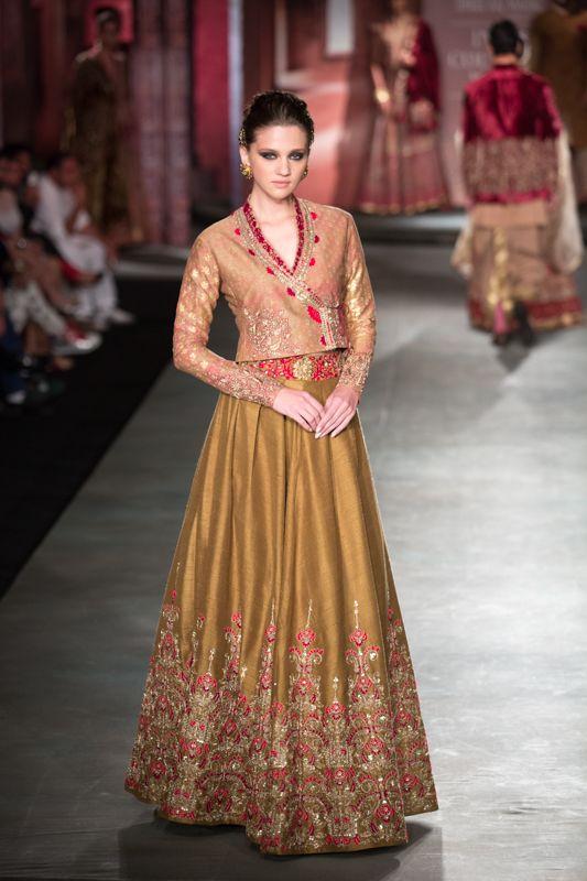 Anju Modi Manikarnika Collection Golden Embroidered #Lehenga With Jacket #Blouse At ICW 2014.