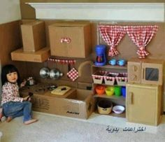 This is a DIY kids kitchen just from card board