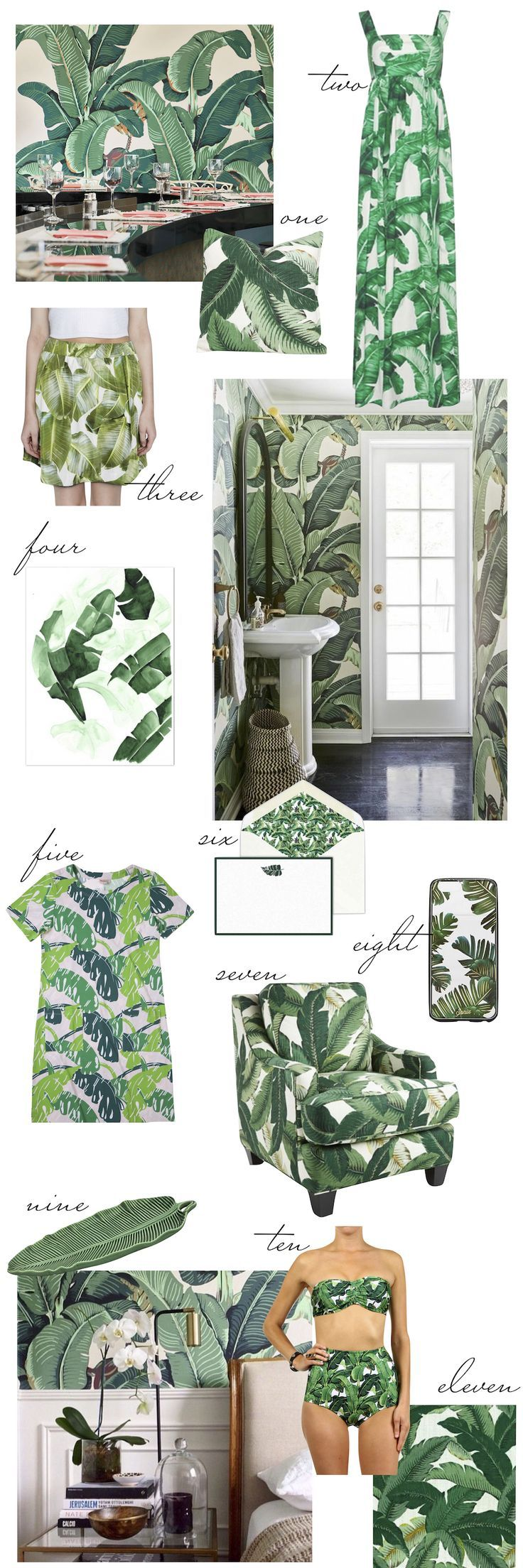 Banana Leaf Print Picks - inspired by the Martinique Wallpaper at the Beverly Hills Hotel.  The Stripe Blog