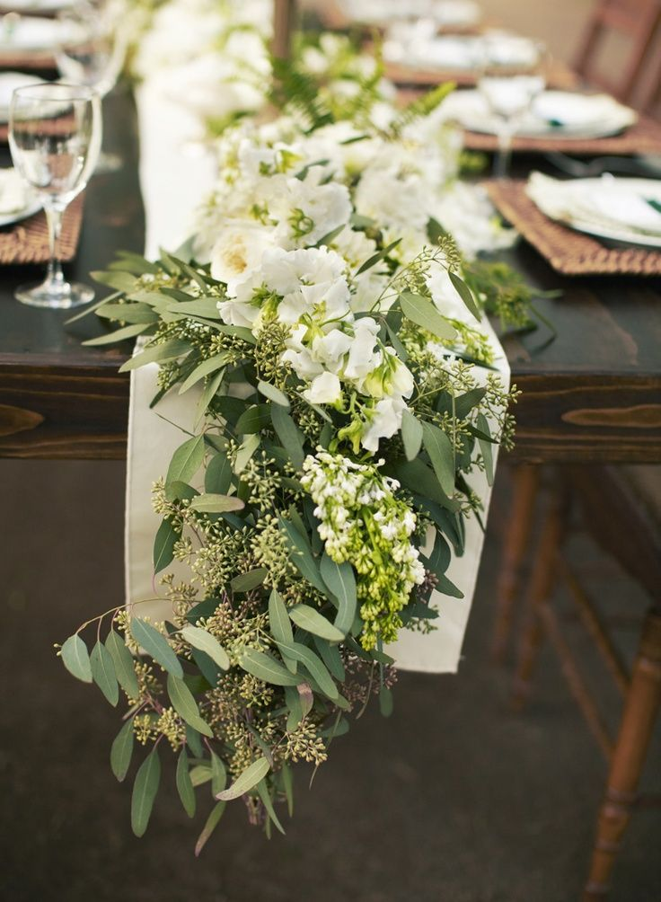 eucalyptus garland, white flowers for head table