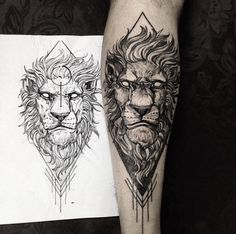 Wicked lion sketch tattoo