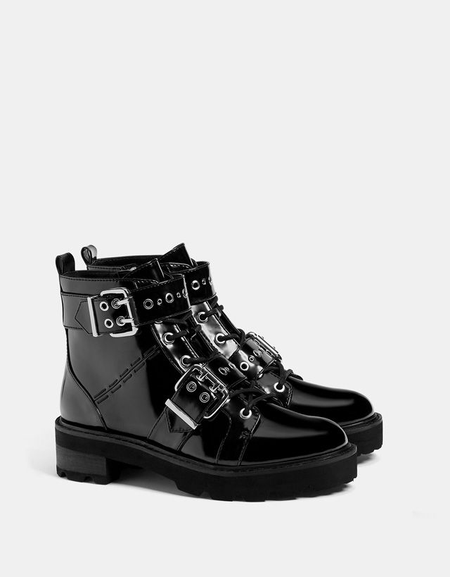 Bershka Cyprus - Biker ankle boots with buckles and studswww.wearethebikerstore.com | Leather, Skull, Bikers, Fashion, Men, Women, Home Decor, Jewelry, Acccessory.