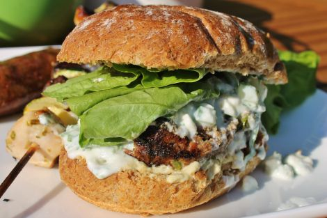 Moroccan Minted Lamb Burgers with Feta and Cucumber Yogurt and Houmous