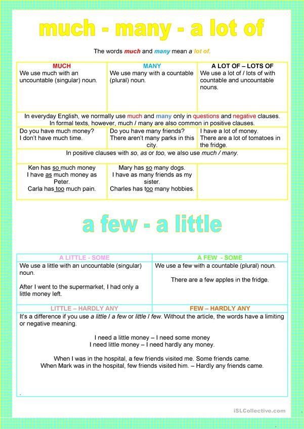 Quantifiers Much Many A Lot Of Few Little Poster Worksheet Free Esl Printable Worksheets Made By Teachers Singular Nouns Grammar Book Everyday English
