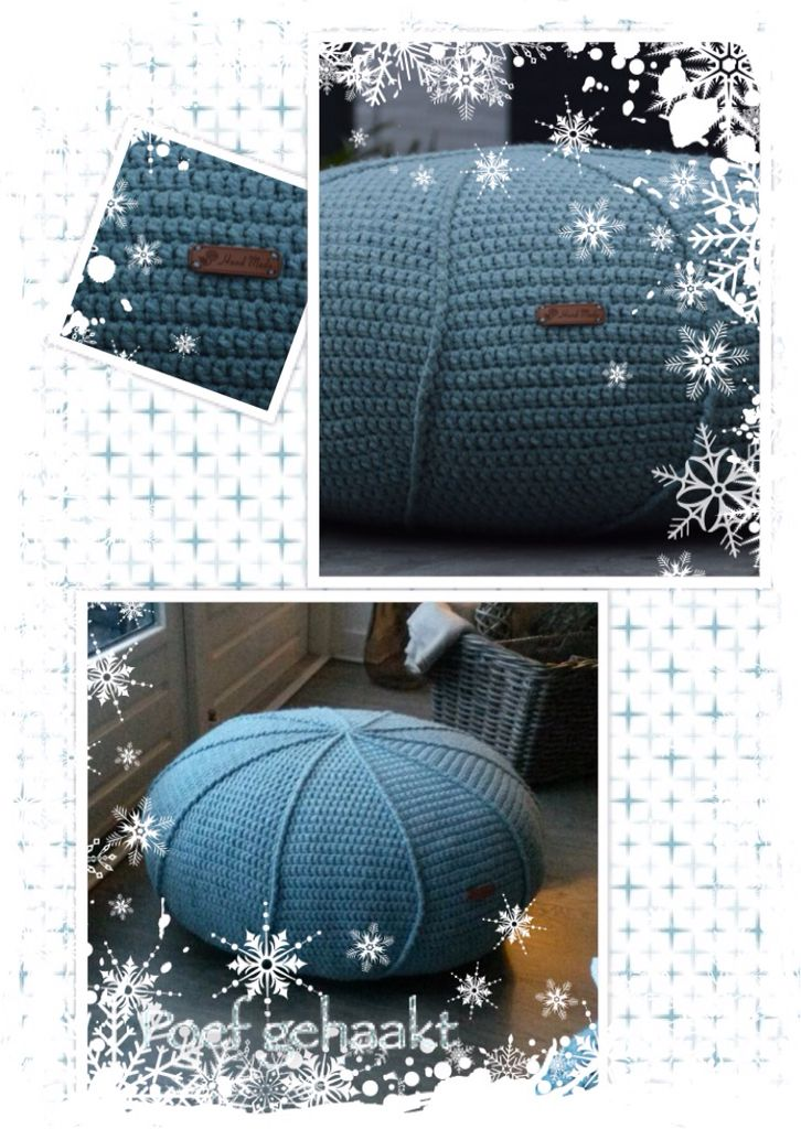Poef met ribbels gehaakt volgens patroon van http://www.jipbyjan.nl/portfolio/tutorial-krukhoesje-of-poef-met-ribbel-haken/ gemaakt met Royal wol van Zeeman, dubbele draad 6 bollen, haaknaald 5. Binnenvallend besteld zoals omschreven in bovenstaande site