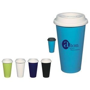 Wholesale Coffee Mugs - 11 Oz Double Wall Ceramic Mug with Silicone Lid