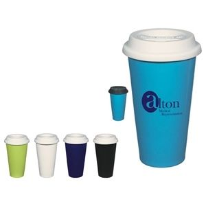 Wholesale Coffee Mugs - 11 Oz Double Wall Ceramic Mug with Silicone Lid