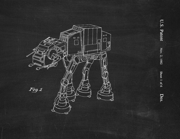 Star Wars AT-AT Patent Art Print Chalkboard Poster