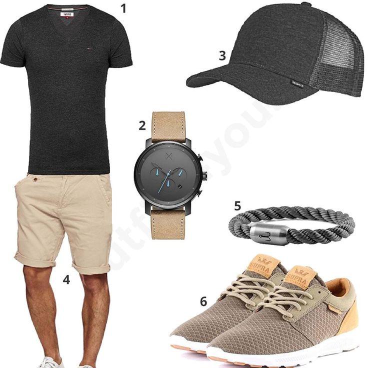 Männer-Style mit anthrazitem Tommy Hilfiger Shirt, Djinns Cap, Indicode Shorts, MVMT Chronograph, Fischers Fritze Armband und Supra Sneakern.