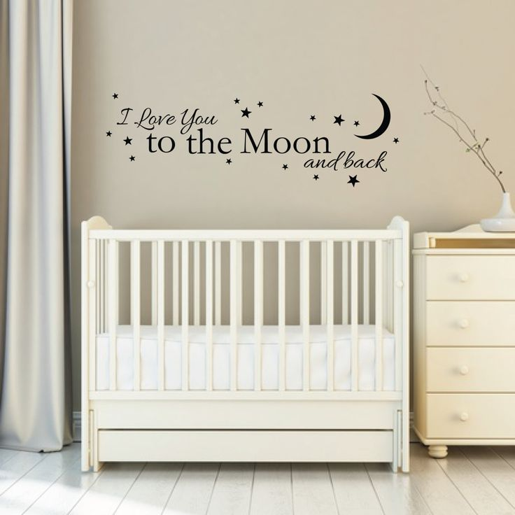 """Wall Sticker Quote - """"Love you to the Moon and Back"""" - Removable Wall Sticker design with stars 