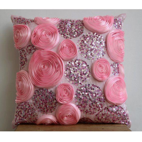 Decorative Throw Pillow Covers Accent Pillow Couch Sofa Toss 16x16 Pink Silk Pillow Cover Ribbon Sequin Embroidery Sweet Kisses Home Decor