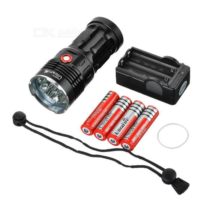 Ultrafire 7000lm 7-LED 3-Mode Super Bright White Flashlight Torch - Black (4 x…