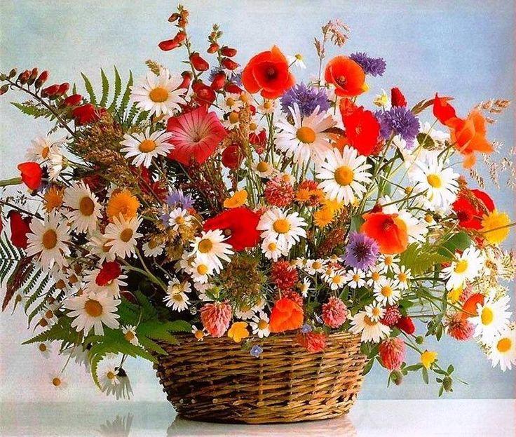 открытка букет цветов россии часы логотипом