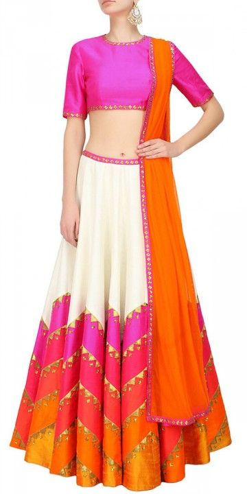 Fabulous White And Pink Silk Lehenga Choli.