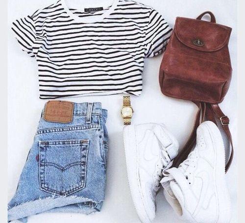 cuteoutfits:  High waist denim shorts,Black and white striped crop
