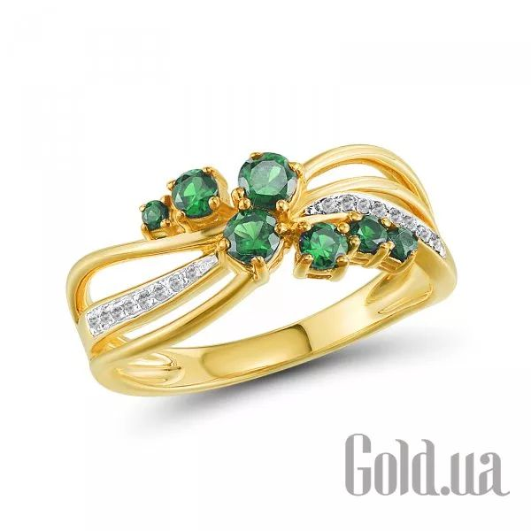 Купить Золотое кольцо с бриллиантами и изумрудами (10R304697E)