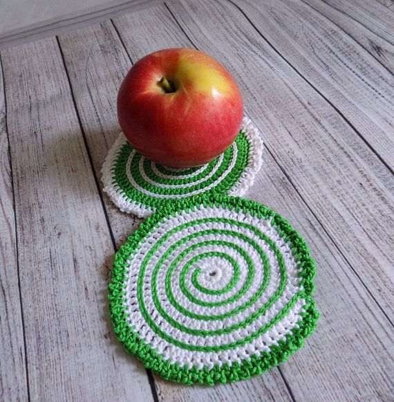 Crochet coasters Set of two stands under hot Knit coasters for