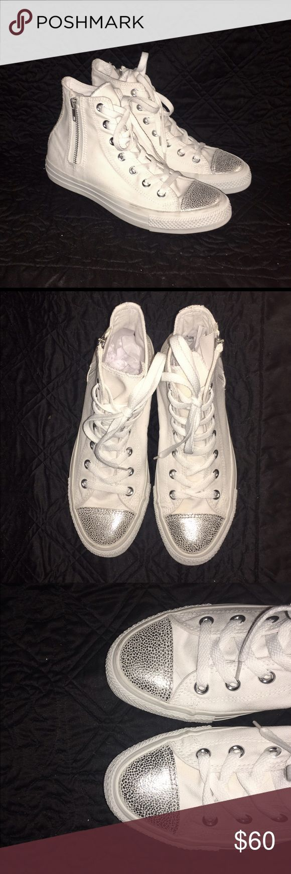 Converse Zip-Up High Tops w/ Silver Accents  Brand-new with tags. Converse All Star Sneakers w/ zippers on sides. Never worn & in perfect condition. Faux pebbled leather accents in front & back of sneaker.  Shoes Sneakers